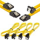 Poppstar 4 cavi dati SATA 3 HDD SSD, 2 con connettore a destra e 2 con connettore con gomito a destra, 90 gradi, fino a 6 GB/s, lunghezza: 0,5 m, colore: Giallo
