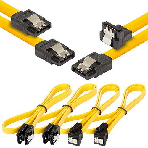 Poppstar4x 0,5mSata3 HDD SSD Kabel, 2x mit Steckern gerade, 2x gerade auf 90 Grad gewinkelt, bis zu 6 Gb/s, gelb