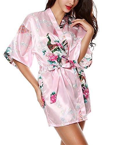 HonourSport-Kimono Japonais Court Sexy Robe de Chambre à Fleurs-Femme Rose