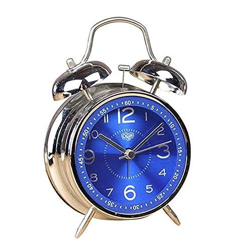 Qianle Horloge de Réveil en Métal Type Raffiné Alarme d'heure Bleu saphir