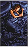 Lizzy - Hermoso juego de sábanas de raso de seda, de 6 piezas, con sábana bajera, edredón y 4 fundas para almohada, poliéster, azul real, Doublé
