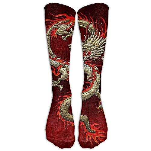 HVCMNVB Hot Red Fury Chinese Dragon Knee High Long Socks Athletic Sports Tube Stockings Running Football Soccer -