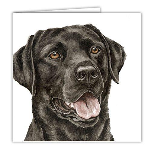 Labrador schwarz Lab Hund Geschenk–Qualität Grüße Karte mit gratis Auto-Lufterfrischer