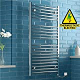 iBathUK | 1200 x 600 Thermostatic Electric Heated Towel Rail Bathroom Radiator - All Sizes RE167