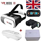 VR Headset VR Box gratuit VR télécommande Bluetooth amélioré 2nd Gen la réalité virtuelle VR Lunettes 3d II avec lentille réglable et sangle pour 3.5–15,2cm appliquer pour iPhone 5/5S/SE/6/6S/6Plus/6s Plus Samsung S6S7Edge Note 4Huawei P9P85x Ascend P6GX8Ascend G510G520Y530M1pour 3d Films et jeux par BeckenBower