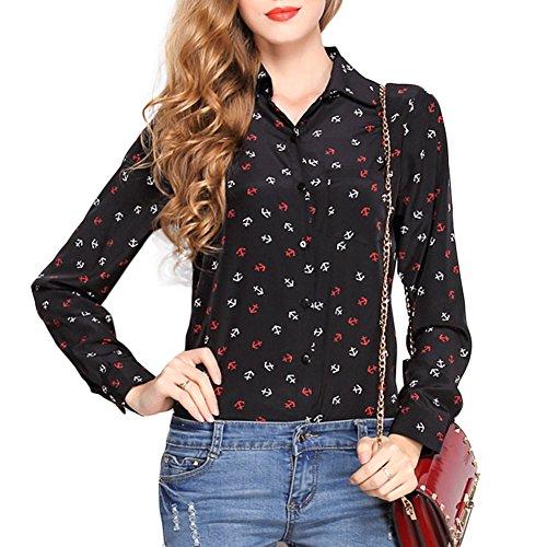 Mode Femme Manches Longues en Mousseline de Soie Impression Shirt 0910Noir