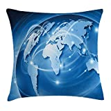 Trsdshorts World Throw Pillow Cushion Cover, Connected World Concept Business Commerce Network Corporation Information, Decorative Square Accent Pillow Case, 18 X 18 inches, Blue Light Blue White