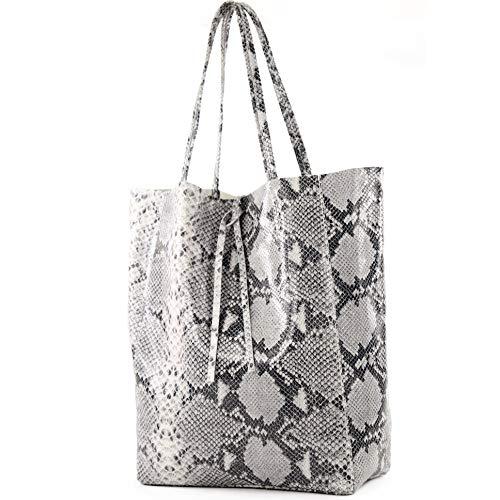 modamoda de - T163 - Ital. Shopper Schultertasche aus Leder, Farbe:Schlange -