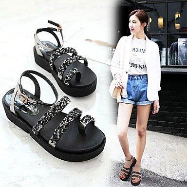 LvYuan Sandalen-Kleid Lässig-PU-Flacher Absatz-Komfort-Schwarz Weiß Black