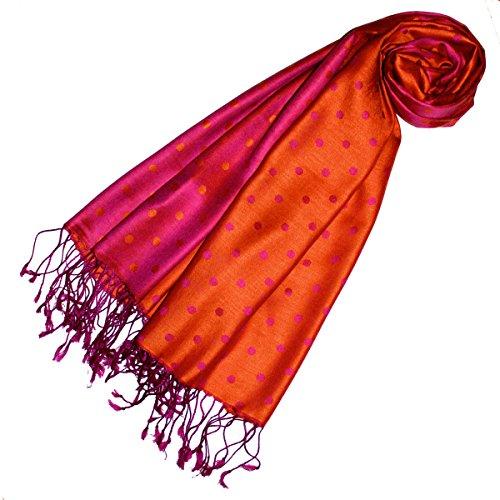 Lorenzo Cana Luxus Damen Pashmina 70% Seide 30% Viskose mit Punkten Schaltuch 70 cm x 190 cm zweifarbig Rosa Orange Pink Schal Stola Damenschal 78134