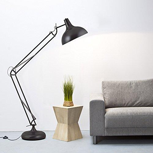 Grandes–Lámpara de pie en el diseño retro, Negro Mate, interruptor de pie, H 180cm, 1x E27Max. 60W, metal, Negro Mate