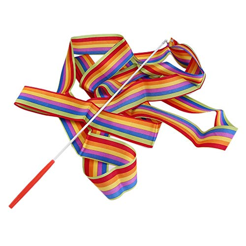 laonBonnie 4M Universal Gym Dance Band Rhythmic Art Gymnastic Streamer Wirbelstab Stick Dance Performace Zubehör - Multicolor (Guard-streamer Color)
