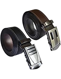 Sunshopping men's black and brown synthetic leather auto lock buckle belts pack of two (r-50)