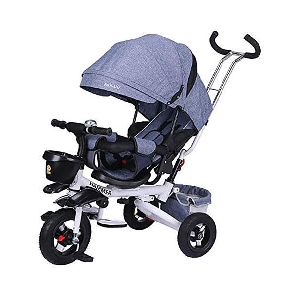 GHDE& 360°Reversible Seat Tricycle 4 in 1 Kids Trike with Sunshade and Push Rod, Fit from 12 Months to 6 Years (Max Load 30kg),B  4 IN 1 TRIKE: It4 IN 1 TRIKE: It is a Toddler bike, baby walker, stroller, or trike with parent pushing rod and sun canopy. is a Toddler bike, baby walker, stroller, or trike with parent pushing rod and sun canopy. Folding footrests or pedals for older children. Versatile, removable basket with carry handle. Removable bag with zipper. Blockable rear wheels. Bottle holder + folding seashell basket. Removable safety bar at the seat. 360° swivelling saddle. Bottle holder. Pleasantly padded seat. Front and back fenders. 1