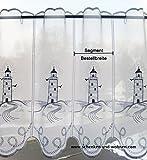 1 Stück Scheibengardine Leuchtturm in Blau ca. 16 cm, H 40 cm