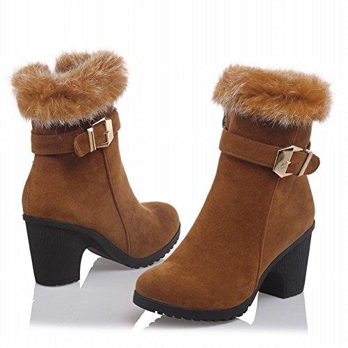 Mee Shoes Damen warm gefüttert chunky heels Plateau kurzschaft Stiefel Camel