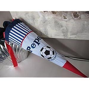 Fussball blau rot Schultüte Stoff + Papprohling + als Kissen verwendbar