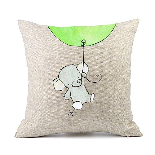 Redland Art Kissenbezug mit Mustern | Elefant | Hochwertiges Leinen | Reißverschluss | dekorativ Kinder Wohnzimmer Kinderzimmer Wohnung | 45x45cm | Geschenk Sofa Zimmer Kissenhülle