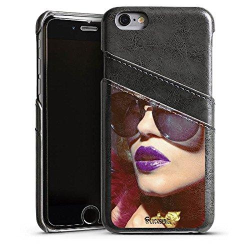 Apple iPhone 5s Housse Étui Protection Coque Femme Femme Lunettes de soleil Étui en cuir gris