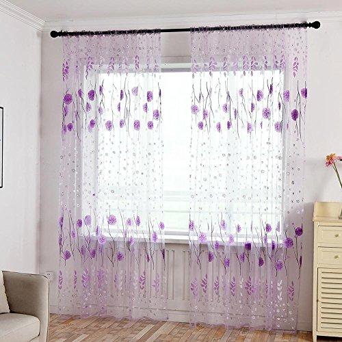 Mikolot stampa floreale tenda porta finestra purdah offset vetro filato drappo pannello voile purple