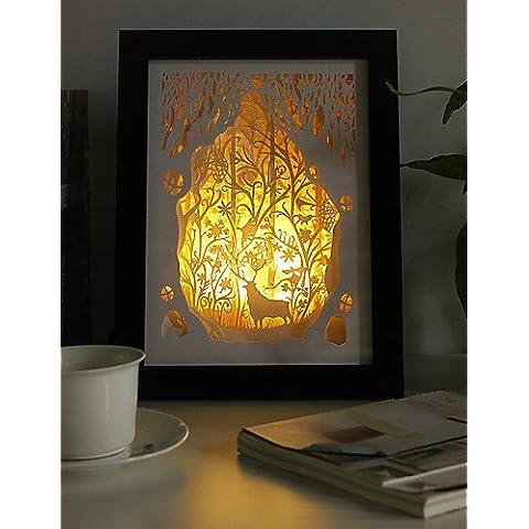 ZSQ 23*23*6CM Navidad presente novela 3 D Sketch tallado de papel mural creativa Lámpara LED Luz Lámpara del bastidor , 220v #769