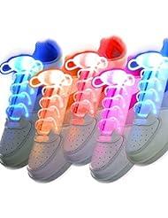 Zetong 5 Pares LED Cordones LED Shoe Lace 2 Modos de Flash Seguridad &Cool para Disco Danza Fiestas Ambiente Deportes Outdoors