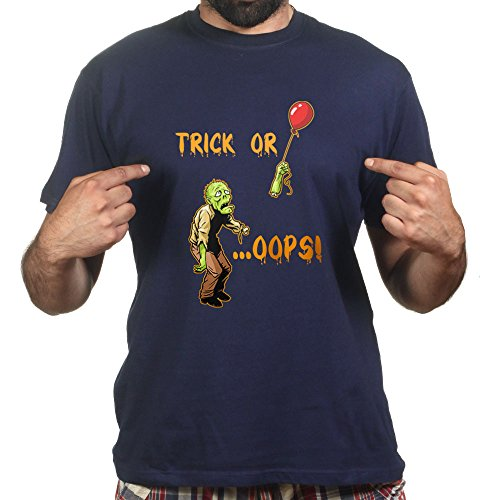 Trick or Treat Oops! Zombie Halloween Scary Costume T-shirt Navy Blau
