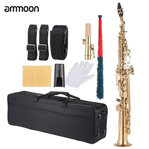 Ammoon, BB-Sopransaxophon aus Messing, gerade, Holzblasinstrument, Tasten mit Muscheleinsätzen, inklusive Transporttasche, Handschuhe, Reinigungstuch, Korkfett, Reinigungsstab gold