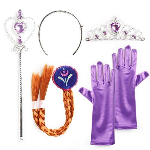Eiskönigin Elsa und Anna - Set aus Diadem, Handschuhe, Zauberstab, Zopf - für Karneval, Fasching, Geburtstag, Party, Verkleidung - Königin ()