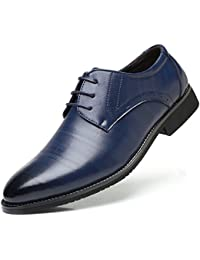SHOWHOW Herren Offiziell Derby Schnürhalbschuhe Anzugschuhe Blau 37 EU hj6kM3GCmW