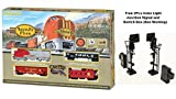 #7: Bachmann Santa Fe Flyer Ready - to - Run HO Scale Electric Model Train Set Free 2Pcs Color Light Junction Signal and Switch Box (Non Working)