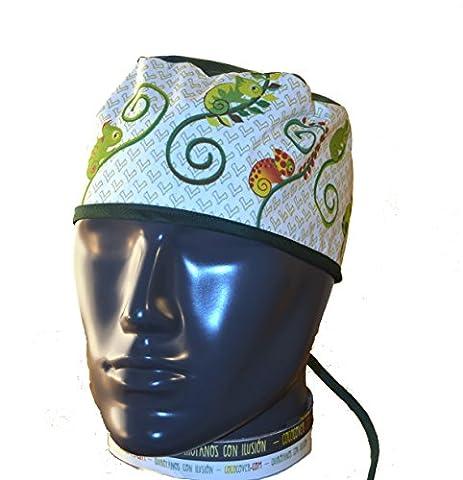 Bonnet Bloc Opératoire. Surgical cap. caméléons. Cheveux court