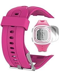 Garmin Forerunner 10 15 Banda (pantalla pequeña de 2,1 cm) con protector de pantalla, TUSITA reemplazo de silicona suave pulsera brazalete deportivo WristBand accesorio para Garmin Watch (ROSA CALIENTE)