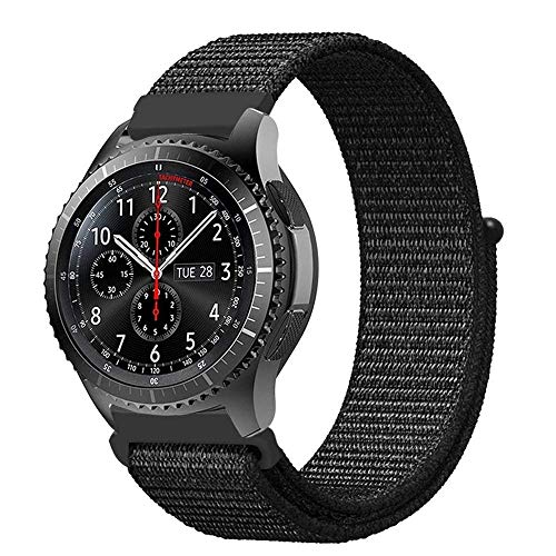 MUEN 22mm Uhrenarmband Nylon Loop kompatible Samsung Galaxy Watch 46mm Smart Watch Armband,Huawei Watch GT Armband Atmungsaktiv Ersatzarmband Zubehör(22mm, Nylon schwarz) - Nylon-loop-uhr-band 22mm