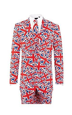 d/Spoke Herren Anzug Union Jack Normale Passform Mehrfarbig 40R