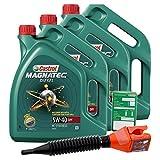 3x 5 L = 15 Liter Castrol Magnatec Diesel 5W-40 DPF Motor-Öl inkl. Ölwechsel-Anhänger und Einfülltrichter