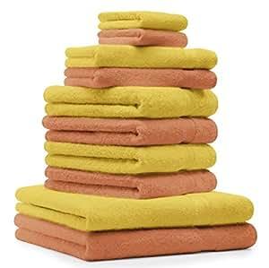 10 tlg Handtuch Set Premium Farbe Oange Terra & Gelb 100% Baumwolle 2 Duschtücher 4 Handtücher 2 Gästetücher 2 Waschhandschuhe