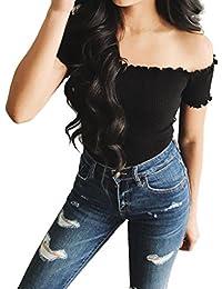 Blusa sexy mujer ❤ Amlaiworld Blusa sin tirantes del hombro de Mujer Tank  Tops Top 58f2d8e69e9b