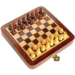 StonKraft Juego de ajedrez Hecho a Mano de Madera Premium de 18 x 18 cm - Juego magnético de Madera Plegable con Almacenamiento
