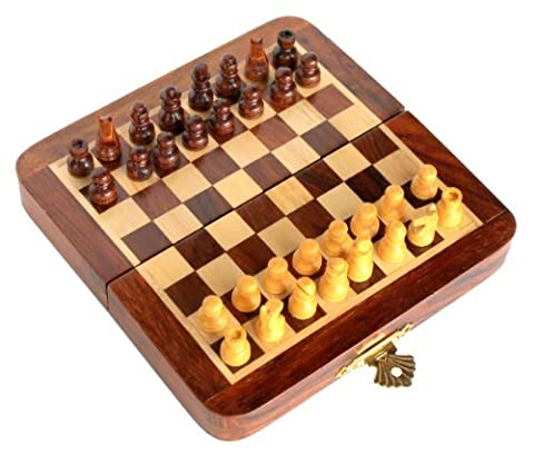 Stonkraft Handmade Premium wood 18 x 18 cm Chess Set - Rosewood Foldable Magnetic Set with Storage