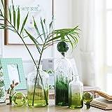 Note. Miz 1 Piece Green Bottle Glass Vase Original Design Desk Accessory Glass Vase Decor Home Garden Decoration Refreshing Interior