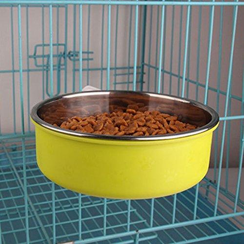 LFF.FF Pet Schüssel Zubringer Katzenschale Hundenapf Rostfreier Stahl Hundehütte Hängen Festgelegter Typ Zäh Rutschfest,Green,S (5 Pet Feeder Mahlzeit Automatische)