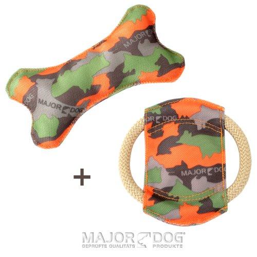 """MAJOR DOG """"Kleine Hunde"""" Set 1 - Knochen & Frisbee Mini schwimmfähig mit Quietschie Hundespielzeug robust & schadstofffrei TÜV geprüft"""