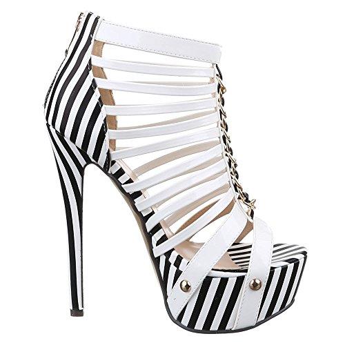 Ital-Design High Heel Sandaletten Damenschuhe High Heel Sandaletten Pfennig-/Stilettoabsatz High Heels Reißverschluss Sandalen & Sandaletten Weiß Schwarz