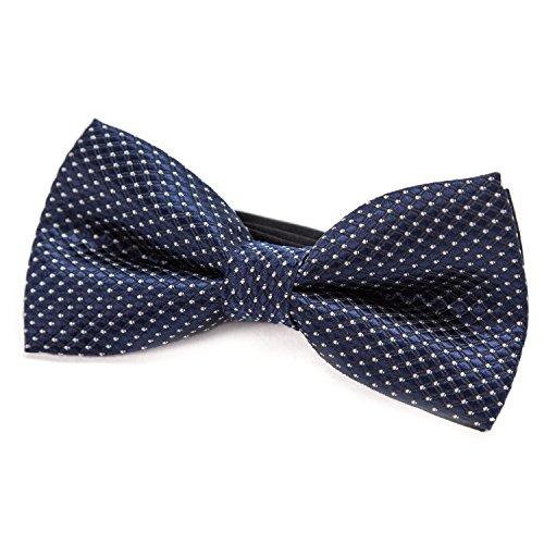 DonDon Edle Kinder Jungen Fliege gebunden und längenverstellbar 9 x 4,5 cm nachtblau glänzend mit silbernen Punkten