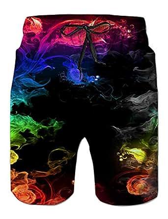 NEWISTAR Mens 3D Wolf Print Summer Beach Pants Shorts Trousers Bottoms Jersey Drawstring