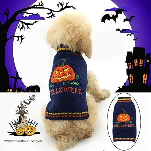 Delifur Halloween Kürbis Hund Pullover Haustier Kostüm Fashion Urlaub Party Puppy Geschenk für Hunde und Katzen, XXL, Orange (Kürbis Für Halloween-kostüm Katzen)