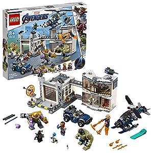 LEGO SuperHeroes Avengers:BattaglianelQuartierGenerale, Figure di ThanoseHulk,Minifigure di IronMan,CaptainMarveleNebula, 76131  LEGO