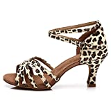 HROYL Zapatos de Baile/Zapatos Latinos de el Leopardo satén Mujeres ES7-F13 EU 38.5