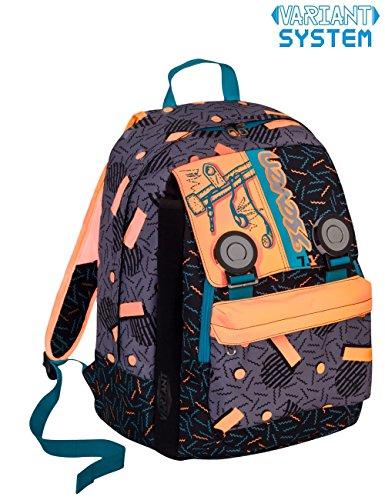 Zaino scuola seven - swag boy - arancione nero - estensibile - variant system - 32 lt - elementari e medie inserti rifrangenti